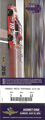 Photos of Race Tickets - Indy Motor Speedway