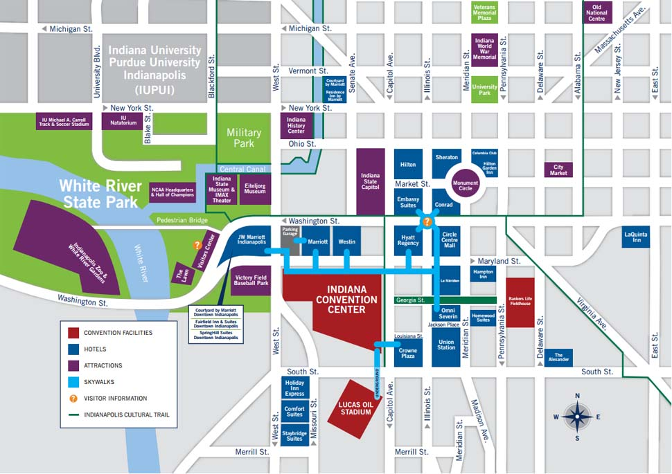 Indianapolis Map   Downtown Hotels and Attractions