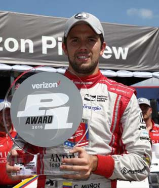 Carlos Munoz wins Pole in 2016 Texas
