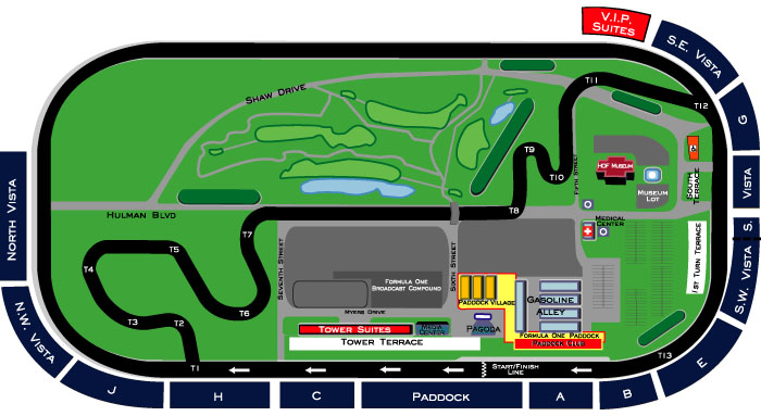 Indy Motor Speedway Stand Locations Map