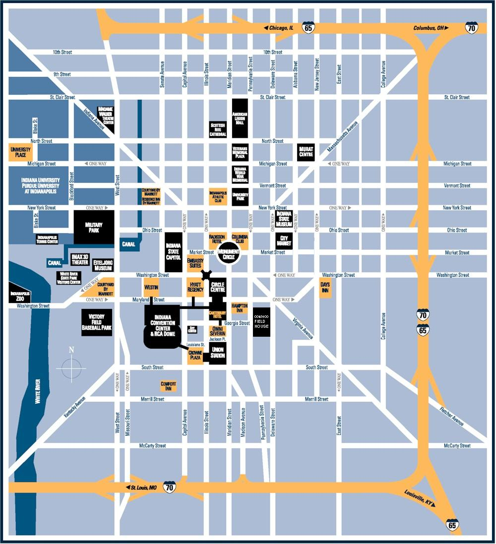 Map of Downtown Indianapolis